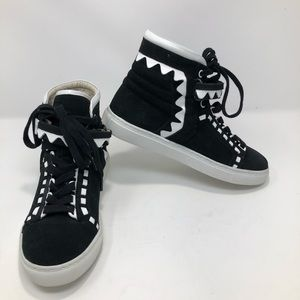 Sophia Webster Monochrome Suede and Leather Hi Top